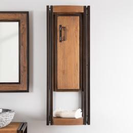 Elegance teak and metal wall-mounted bathroom storage unit 110 cm