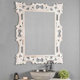 Espejo barroco de madera con pátina blanca 100 x 80 cm