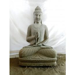 Estatua de jardín Buda de piedra posición chakra y mala 1 m