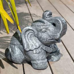 Estatua elefante sentado 40 cm gris envejecido