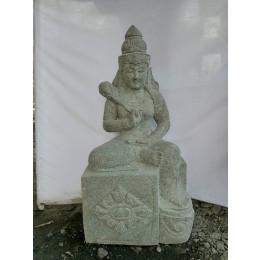 Estatua grande de jardín zen diosa balinesa de piedra 1 m