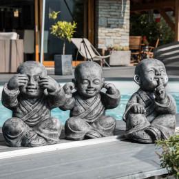 Estatuas monje de la sabiduría pátina gris 40 cm