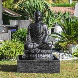 Fontaine de jardin bouddha assis 1 m patiné noir