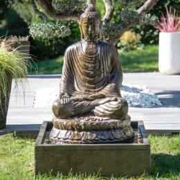 Fuente de jardín Buda sentado con pátina 1,20 m