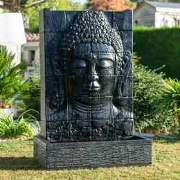 Fuente de jardín pared de agua rostro de Buda 1,50 m negro