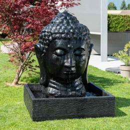 Fuente de jardín rostro de Buda 1,30 m negro