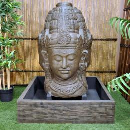 Fuente de jardín rostro de la diosa Dewi 1,30 m marrón envejecido