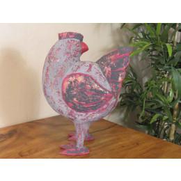 Gran gallina de madera con pátina lacada gris rojo de antaño 24cm