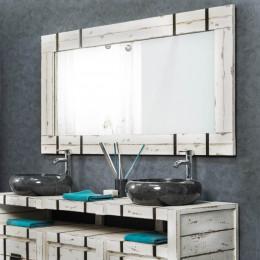 Grand Miroir de salle de bain loft bois métal 160x80
