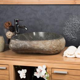 vasque galet pierre de rivière 50