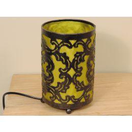 Lampe en acier cylindrique olive 12 cm hauteur 20 cm