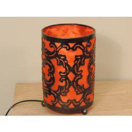 Lampe en acier cylindrique orange 12 cm hauteur 20 cm