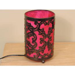 Lampe en acier cylindrique rose 12 cm hauteur 20 cm