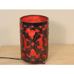 Lampe en acier cylindrique rouge 12 cm hauteur 20 cm
