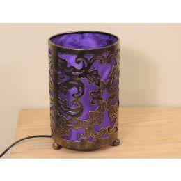 Lampe en acier cylindrique violet 12 cm hauteur 20 cm