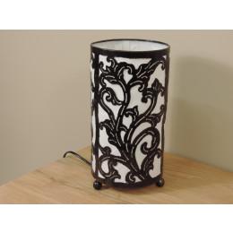 Lampe en fer forgé cylindrique blanc 16 cm hauteur 30 cm