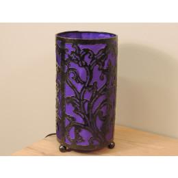 Lampe en fer forgé cylindrique violet 16 cm hauteur 30 cm