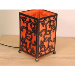 Lampe en fer forgé rectangle orange 12 cm hauteur 20 cm