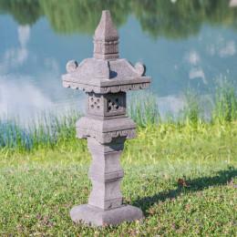 Lanterne japonaise pagode en pierre de lave 1.20 m