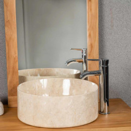 lavabo de mármol cuarto de baño Ulysse 40 cm crema