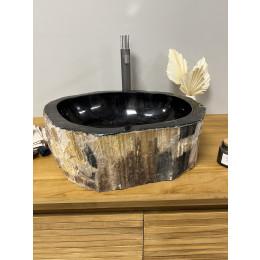 Lavabo de salle de bain en bois pétrifié fossilisé 38 CM