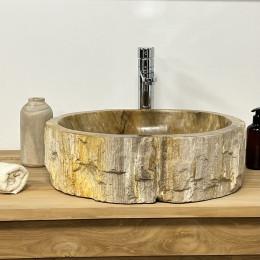 Lavabo de salle de bain en bois pétrifié fossilisé marron 48 CM
