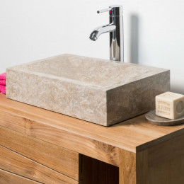 lavabo sobre encimera de baño ALEJANDRÍA rectángulo 30x40cm gris