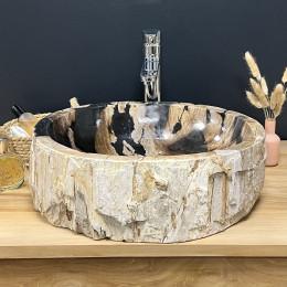 lavabo sobre encimera de madera fosilizada 55 cm
