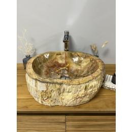 lavabo sobre encimera de madera petrificada 46 cm