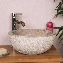 lavabo sobre encimera de mármol ESTRÓMBOLI gris topo 35 cm