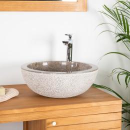 lavabo sobre encimera de mármol ESTRÓMBOLI gris topo 40 cm
