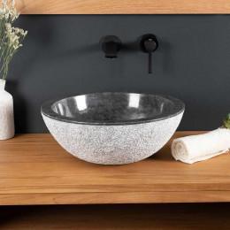 lavabo sobre encimera de mármol ESTRÓMBOLI negro 40 cm