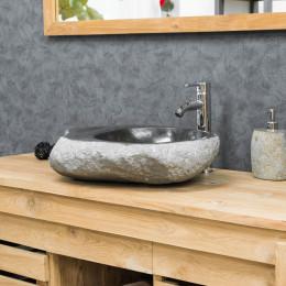 lavabo sobre encimera de PIEDRA DE RÍO 40-45 cm jabonera