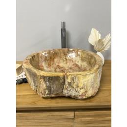 lavabo sobre encimera grande de madera fosilizada 60 cm