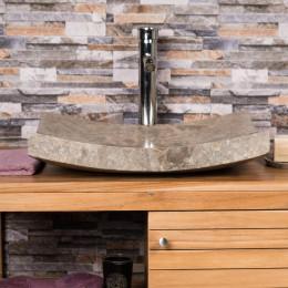 lavabo sobre encimera grande gris 50 cm rectángulo de mármol GÉNOVA pulido
