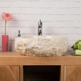 lavabo sobre encimera grande para cuarto de baño ROCA de mármol crema
