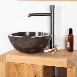 lavabo sobre encimera redondo BARCELONA de mármol color negro - Diámetro 30 cm