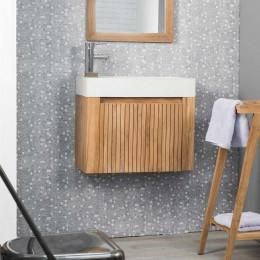 Lave main et meuble suspendu en teck LUXE 60