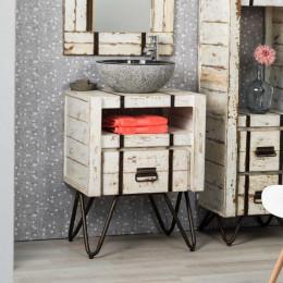 Meuble de salle de bain blanc loft bois métal 60 cm