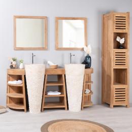 Meuble sous vasque double vasque en bois teck massif vasques en marbre florence naturel - Meuble salle de bain 180 cm ...