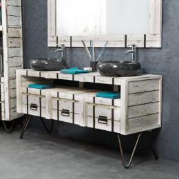 Meuble double de salle de bain blanc loft bois métal 160 cm