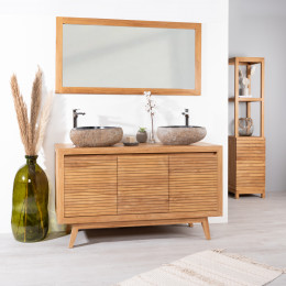 meuble sous vasque salle de bain en teck vintage 140