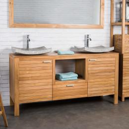 meuble salle de bain en bois teck courchevel 160