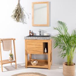Mueble de teca maciza COSY 67 cm + lavabo negro