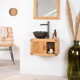 Petit Meuble de salle de bain ou WC suspendu en teck massif collection rétro