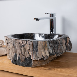 Petrified fossil wood countertop bathroom sink 52 cm
