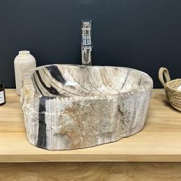 Polished inside petrified fossil wood countertop bathroom sink 55 cm