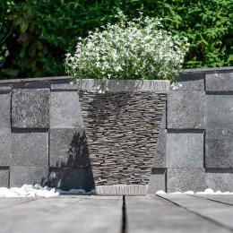 Pot bac jardinière carré ardoise hauteur 50cm diamètre 40cm pierre naturelle