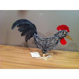 poule en maille déco design acier brossé 25 cm