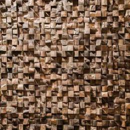 Revestimiento mosaico de teca reciclada natural cuadrado 20 x 55 cm